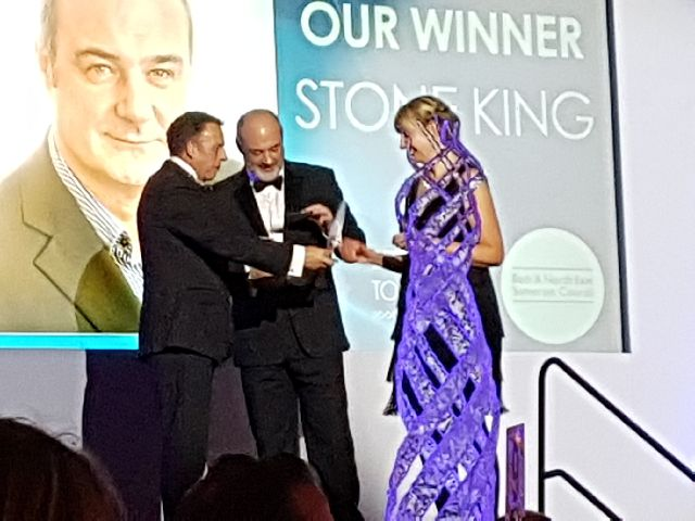 Stone King Managing Partner Steven Greenwood and HR Director Tassy Vincent collecting the award for Best Place to Work