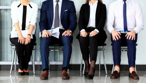 Four candidates waiting for interview